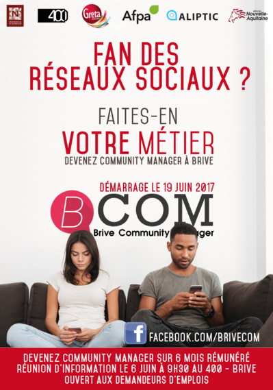 Formation Community Manager à Brive : information collective le 6 juin 2017 à 9h30