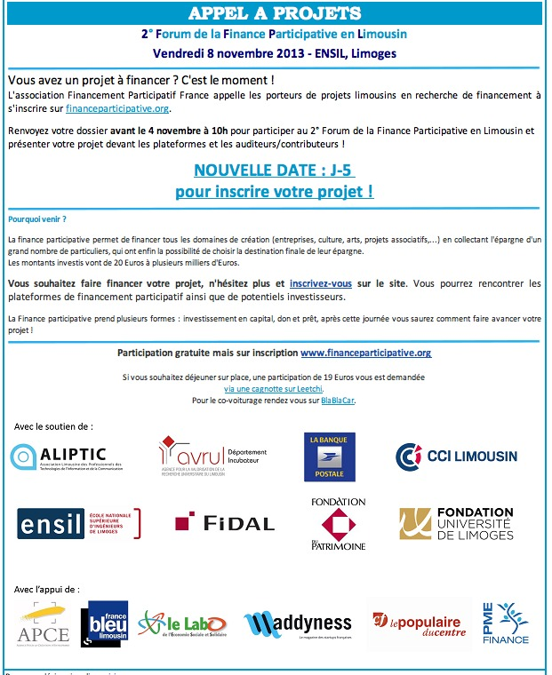 Appel à projets Forum de la Finance Participative